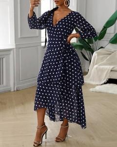 Sukienka Kendallme maxi kopertowa z długim rękawem