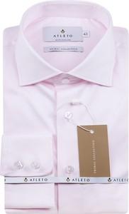 Różowa koszula Atleto z satyny z długim rękawem