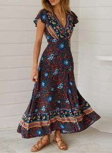 Sukienka Sandbella maxi z dekoltem w kształcie litery v z krótkim rękawem