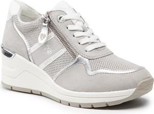 Buty sportowe Marco Tozzi na koturnie sznurowane w sportowym stylu