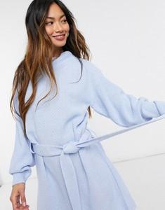 Niebieska sukienka Glamorous z długim rękawem