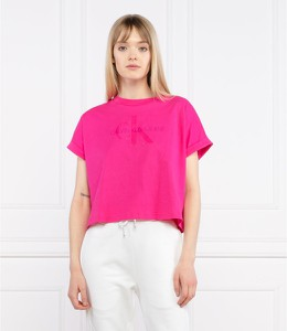 T-shirt Calvin Klein w stylu casual z okrągłym dekoltem z krótkim rękawem
