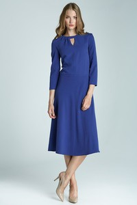 Niebieska sukienka Nife rozkloszowana z długim rękawem