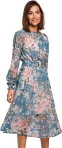 Niebieska sukienka Style z długim rękawem w stylu casual