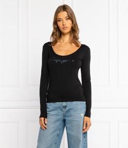 Czarna bluzka Pepe Jeans z długim rękawem z bawełny