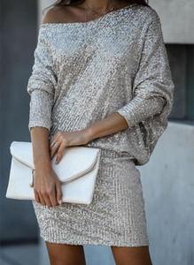 Srebrna sukienka Cikelly w stylu casual mini