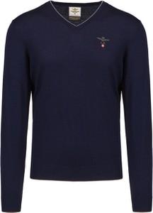 Granatowy sweter Aeronautica Militare z wełny