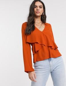 Pomarańczowa bluzka Asos z długim rękawem