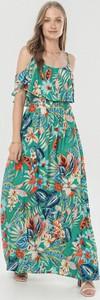 Zielona sukienka born2be w stylu boho hiszpanka