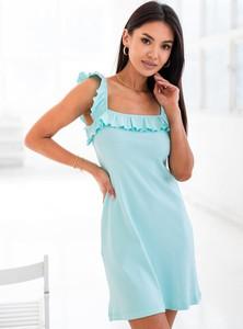 Niebieska sukienka SELFIEROOM z okrągłym dekoltem mini z bawełny