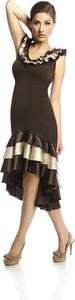 Brązowa sukienka Fokus z krótkim rękawem