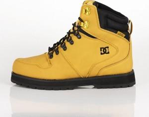 Żółte buty zimowe DC Shoes ze skóry