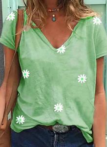 Zielona bluzka Sandbella z dekoltem w kształcie litery v z krótkim rękawem