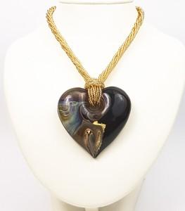 Skarby Murano Wisiorek Serce_Giulia Czarne - biżuteria szkło Murano