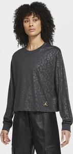 Czarny t-shirt Nike z okrągłym dekoltem z długim rękawem