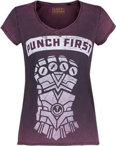 Fioletowy t-shirt Emp w młodzieżowym stylu z krótkim rękawem