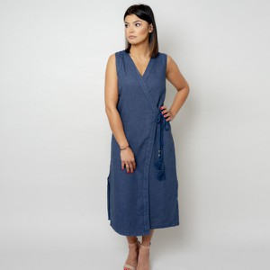 Niebieska sukienka Willsoor z dekoltem w kształcie litery v maxi bez rękawów