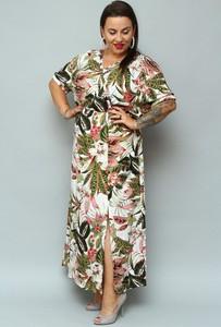 Sukienka KARKO z tkaniny z dekoltem w kształcie litery v kopertowa