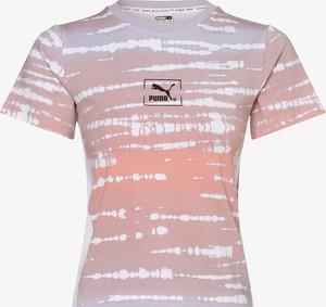 Fioletowy t-shirt Puma z okrągłym dekoltem w sportowym stylu