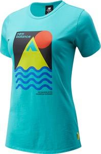 Bluzka New Balance z nadrukiem z krótkim rękawem z okrągłym dekoltem