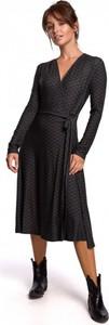 Fioletowa sukienka Be z bawełny z długim rękawem