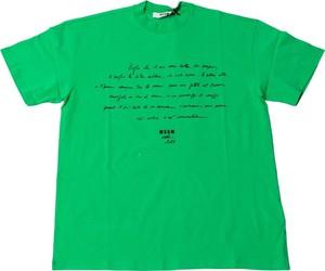 Zielona bluzka MSGM z bawełny z okrągłym dekoltem z krótkim rękawem