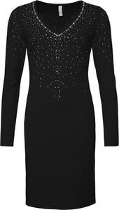 Sukienka bonprix BODYFLIRT boutique z dekoltem w kształcie litery v z długim rękawem