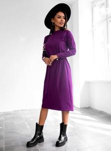 Fioletowa sukienka SELFIEROOM z golfem w stylu casual