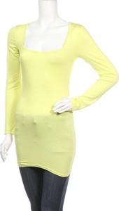 Żółta tunika Simple Wish z długim rękawem w stylu casual z bawełny