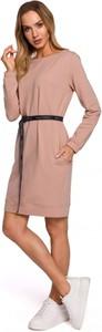 Różowa sukienka MOE z bawełny mini z okrągłym dekoltem