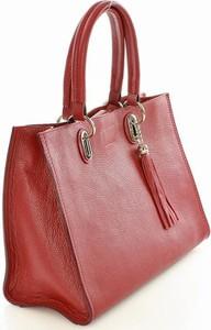 Czerwona torebka MAZZINI średnia do ręki z frędzlami