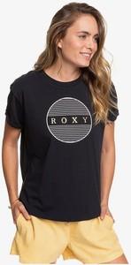 Czarny t-shirt Roxy z okrągłym dekoltem z krótkim rękawem