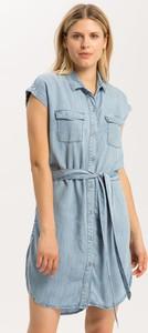 Niebieska sukienka Cross Jeans mini z krótkim rękawem z kołnierzykiem