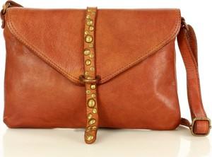 Brązowa torebka Marco Mazzini Handmade ze skóry średnia matowa