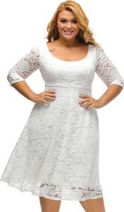 Elegrina sukienka mini duże rozmiary jasmina biała