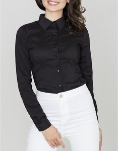Czarna koszula LENITIF z długim rękawem