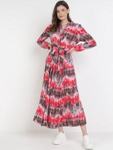 Sukienka born2be z długim rękawem z okrągłym dekoltem maxi