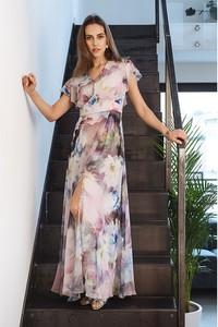 Sukienka Semper z krótkim rękawem z dekoltem w kształcie litery v maxi