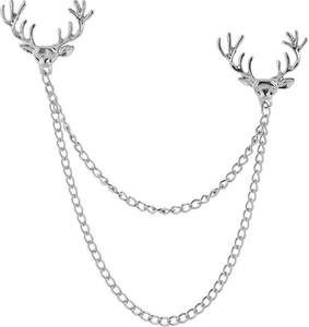 Warren Asher Łańcuszek do kołnierzyka z motywem głowy jelenia w srebrnym tonie