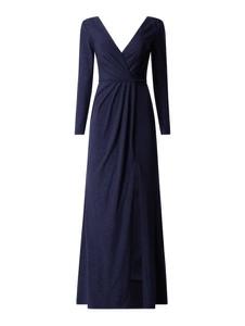 Granatowa sukienka Mascara z długim rękawem