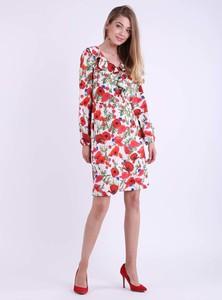 Sukienka Nommo z długim rękawem trapezowa z dekoltem w kształcie litery v