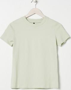 Zielony t-shirt Sinsay z okrągłym dekoltem