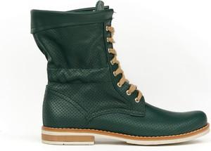Zielone botki Zapato sznurowane ze skóry z płaską podeszwą