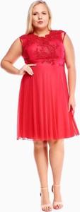 Sukienka Fokus midi z krótkim rękawem z szyfonu