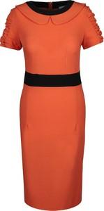 Pomarańczowa sukienka Fokus ołówkowa z krótkim rękawem midi