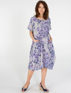 Sukienka Unisono z okrągłym dekoltem midi z bawełny