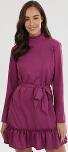 Fioletowa sukienka born2be mini z długim rękawem