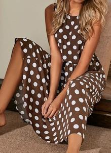 Sukienka Cikelly z okrągłym dekoltem w stylu casual maxi