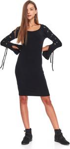 Czarna sukienka Troll midi z długim rękawem