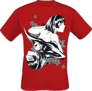 Czerwony t-shirt Emp z krótkim rękawem z nadrukiem z bawełny